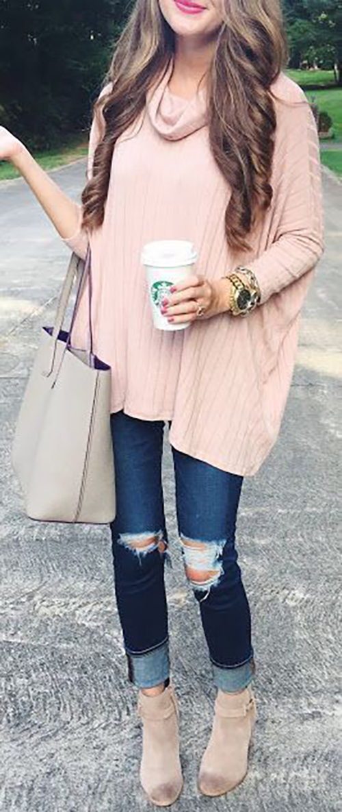 Blush sweater fashion idea