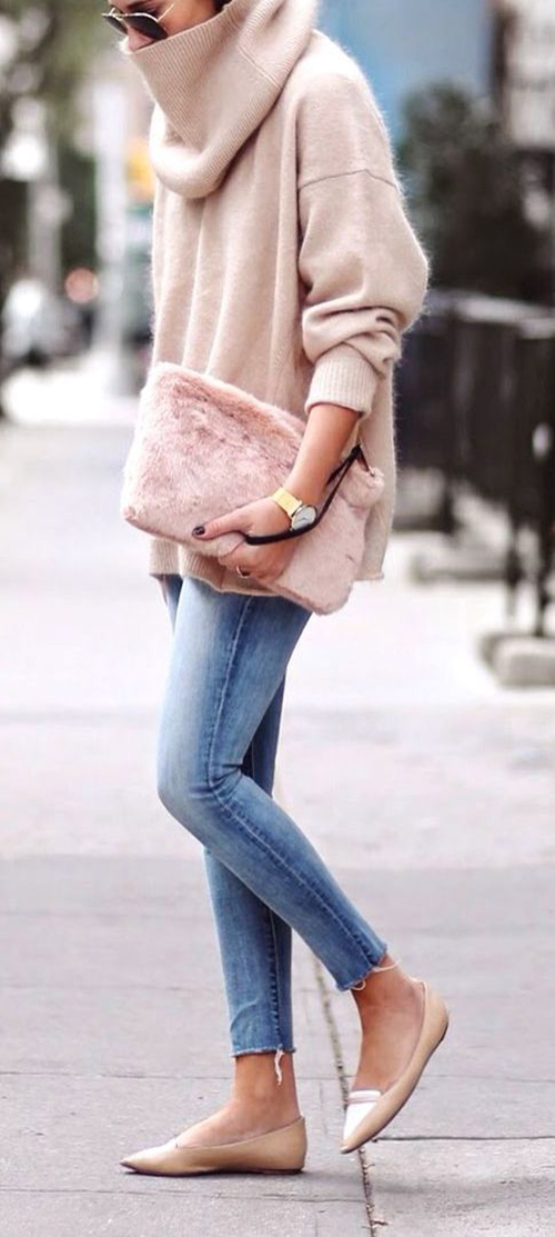 Blush sweater and clutch for winter fashion