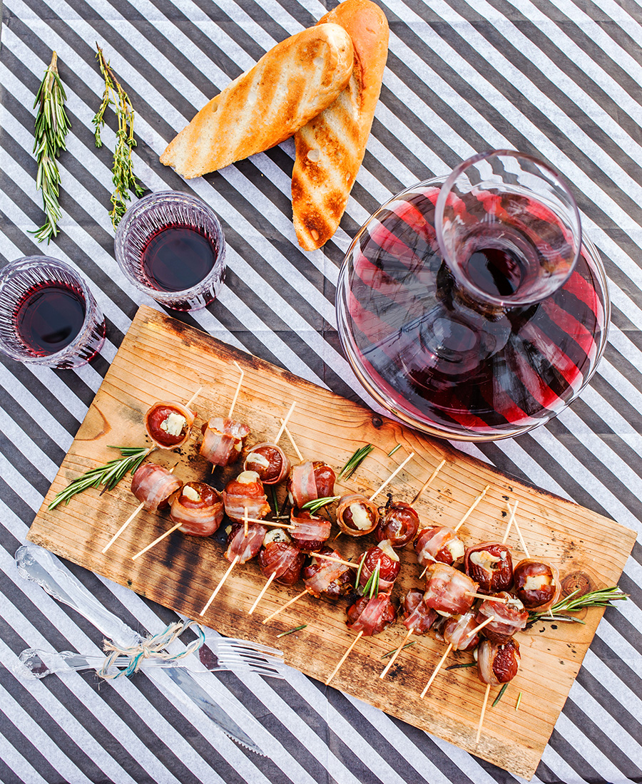 Bacon Wrapped Goat Cheese Stuffed Dates