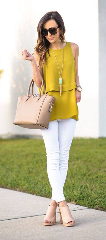 15 Casual Spring Styles We Love gold shirt and white pants