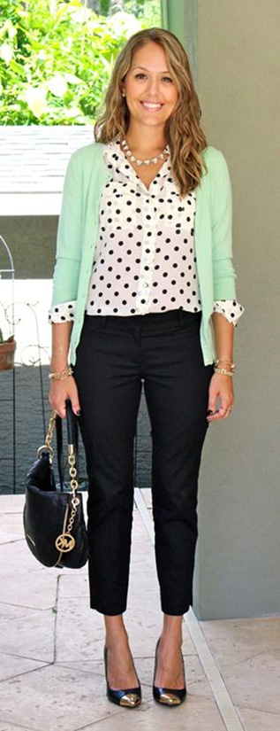 15 Casual Spring Styles We Love polka dot shirt with green sweater