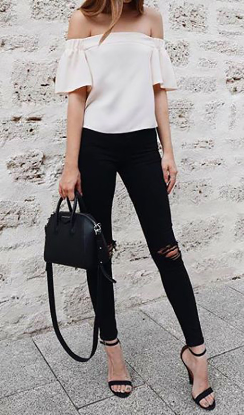 15 Casual Spring Styles We Love cute off shoulder blouse with black skinnies