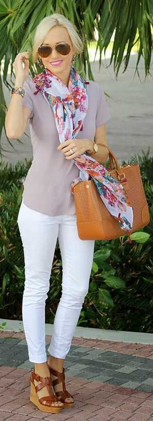 15 Casual Spring Styles We Love bright scarf wtih simple T