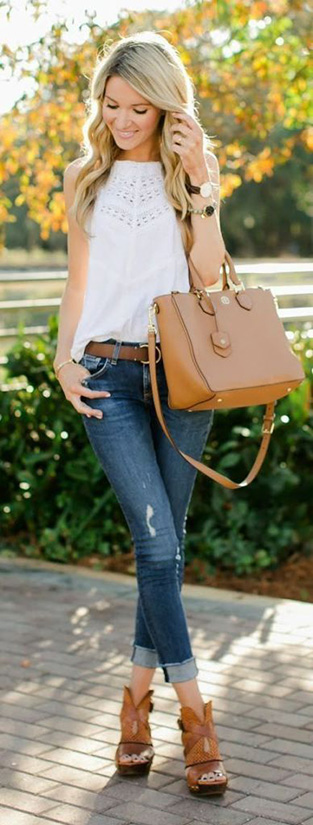 15 Casual Spring Styles We Love feminine shirt with distressed jeans