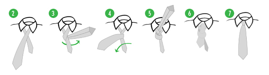 Four-in-hand tie knot diagram