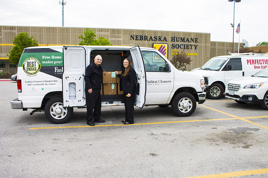 Fetch with Fashion - Fashion Cleaners First Delivery to Nebraska Humane Society