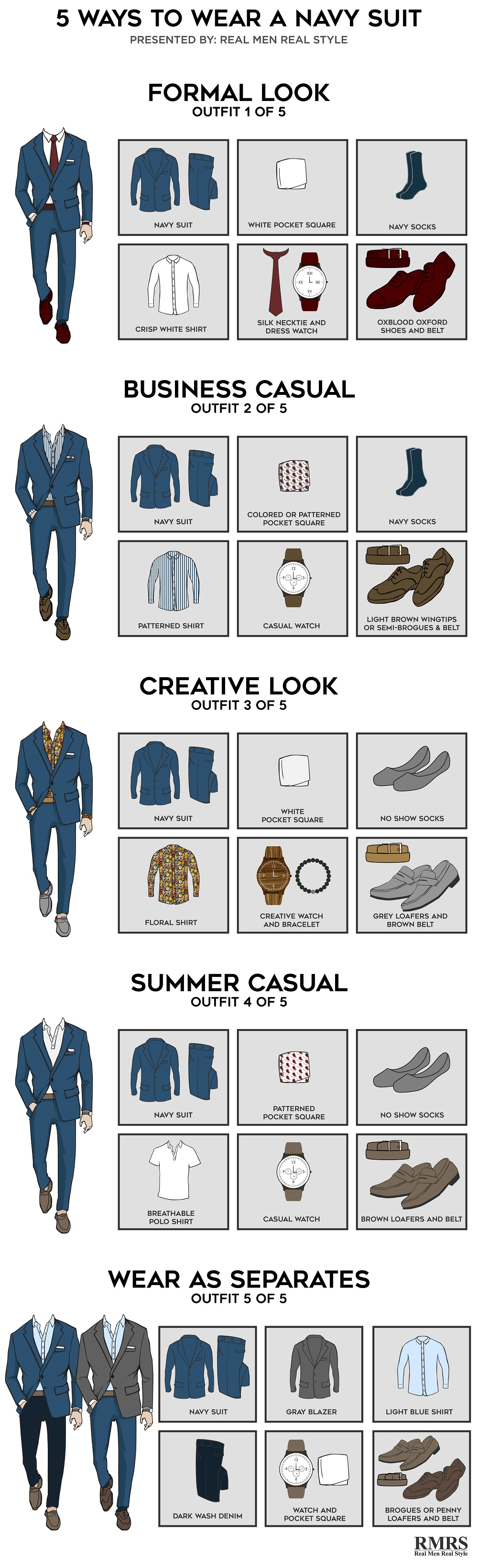 5 ways to wear a navy suit infographic