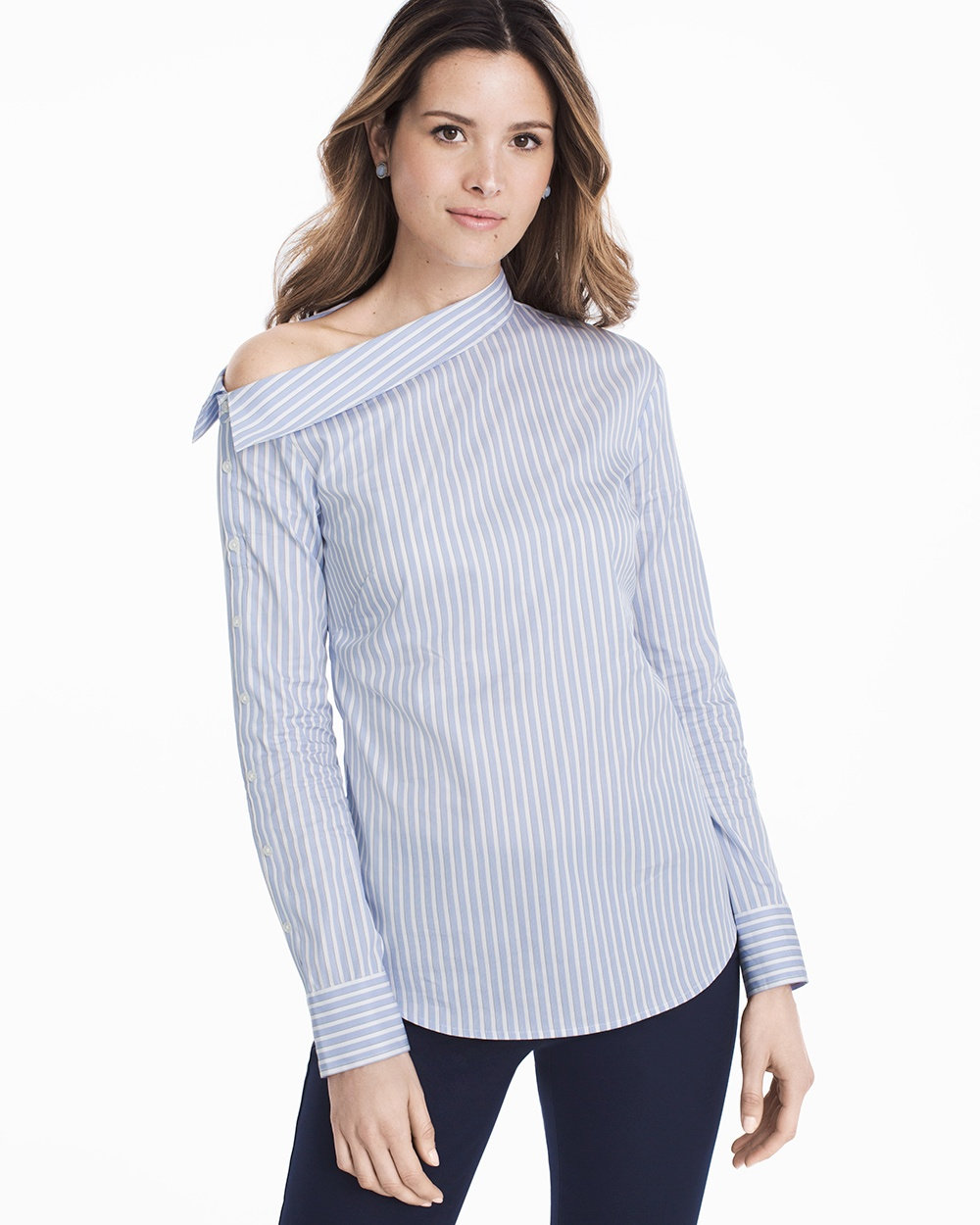 Structured Cotton Blouses for Spring & Summer Blue Oxford Stripe