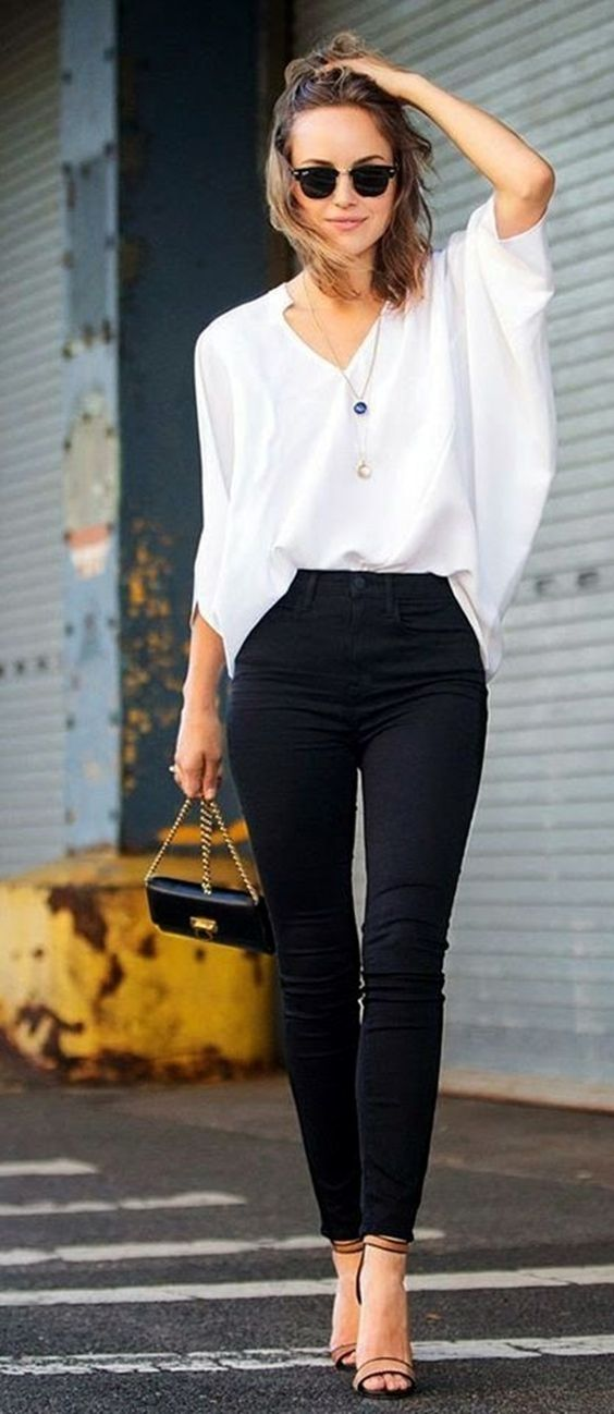 Casual Summer Work Outfits - black pants white shirt