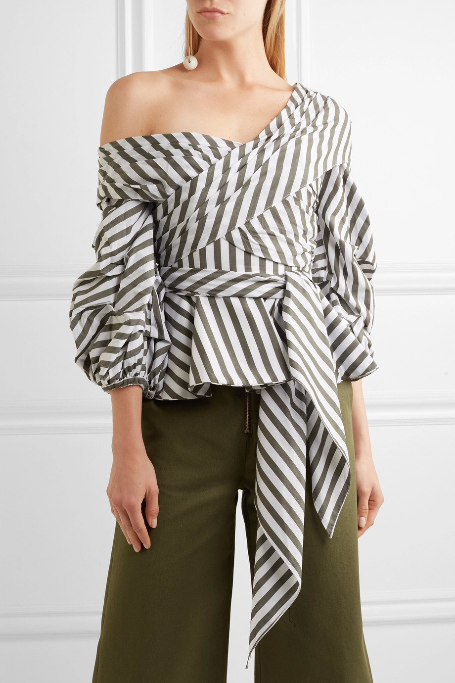 Structured Cotton Blouses for Spring & Summer Black and White Stripe