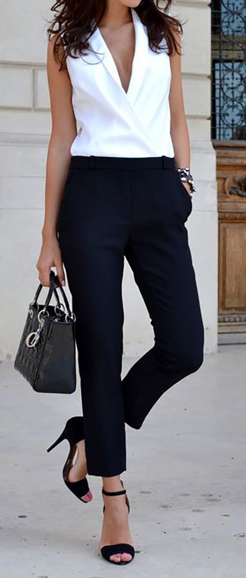 Casual Summer Work Outfits - Black and White Outfit