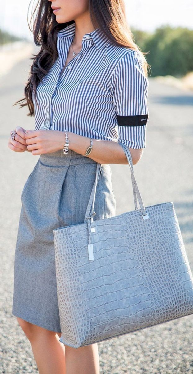 Casual Summer Work Outfits - blue skirt with striped shirt