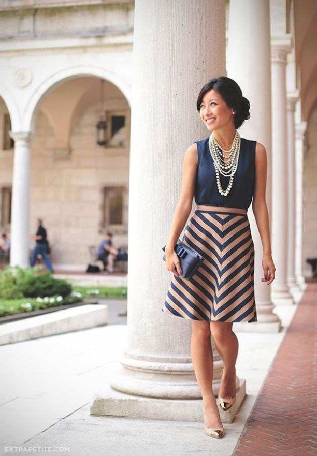 Casual Summer Work Outfits - blue and blush dress