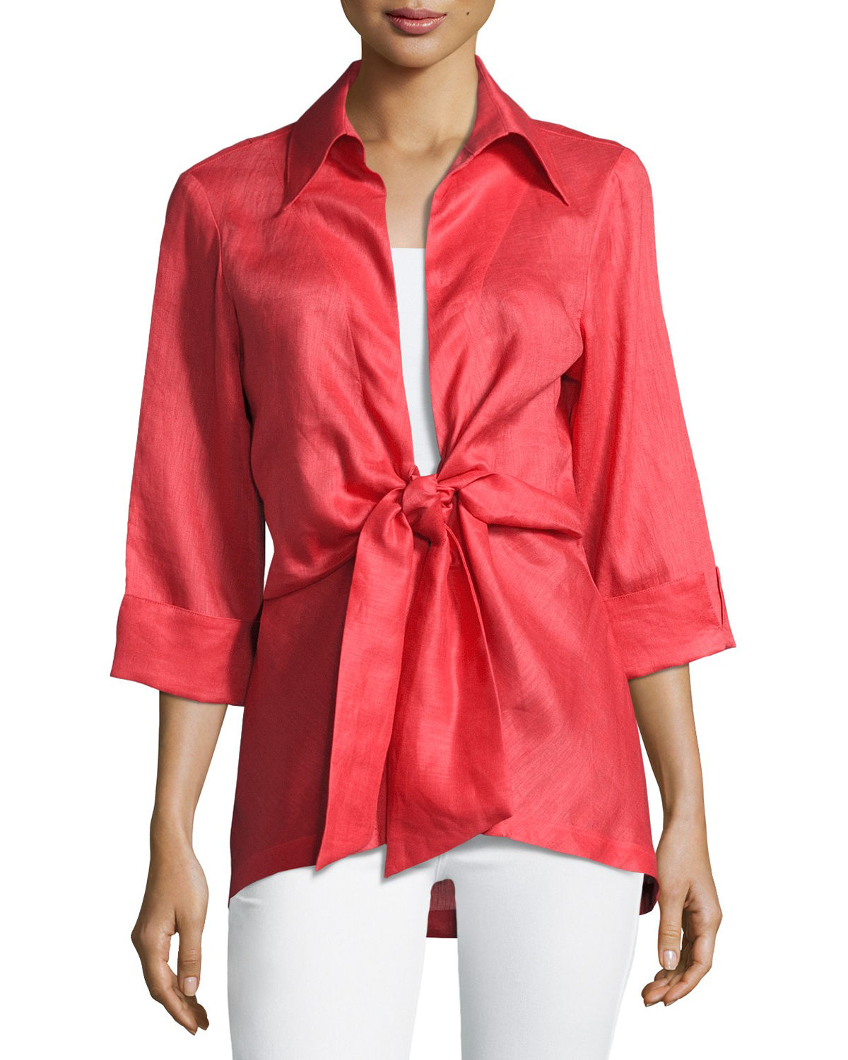 Structured Cotton Blouses for Spring & Summer Red Tie Front Jacket Style