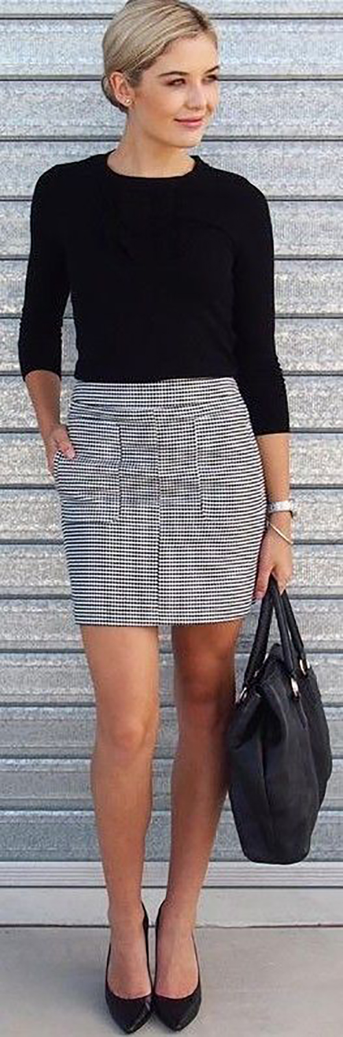 Casual Summer Work Outfits - black and white skirt and black shirt