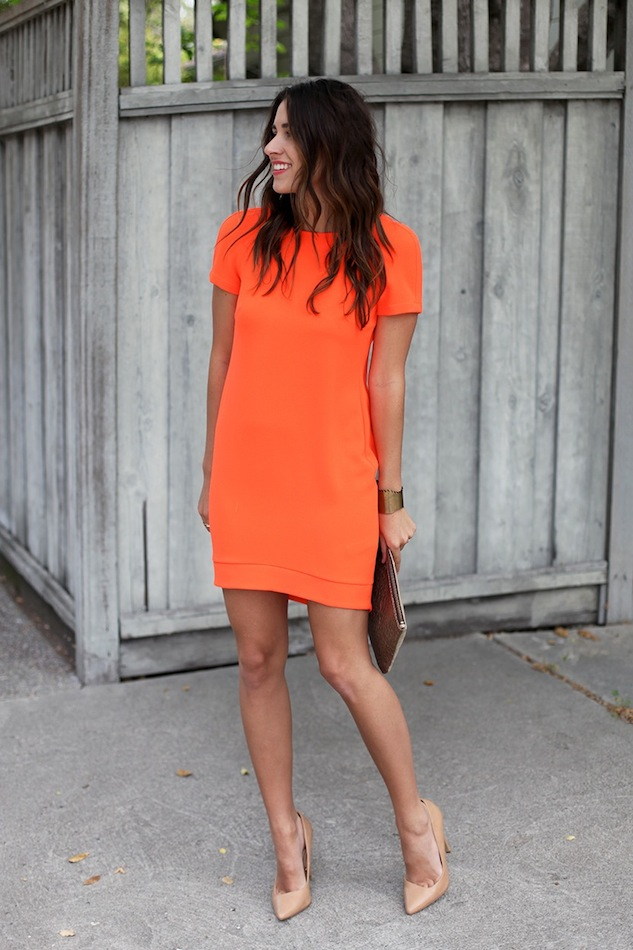 Casual Summer Work Outfits - orange shift