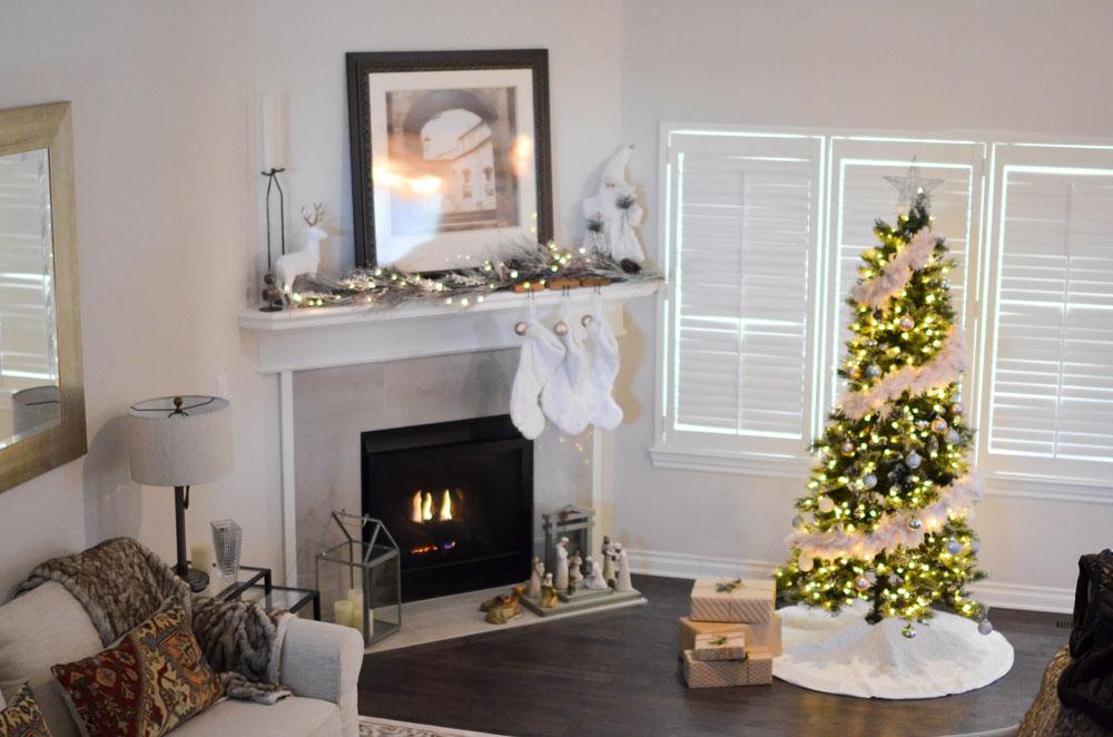 Christmas Tree Skirt in a living room